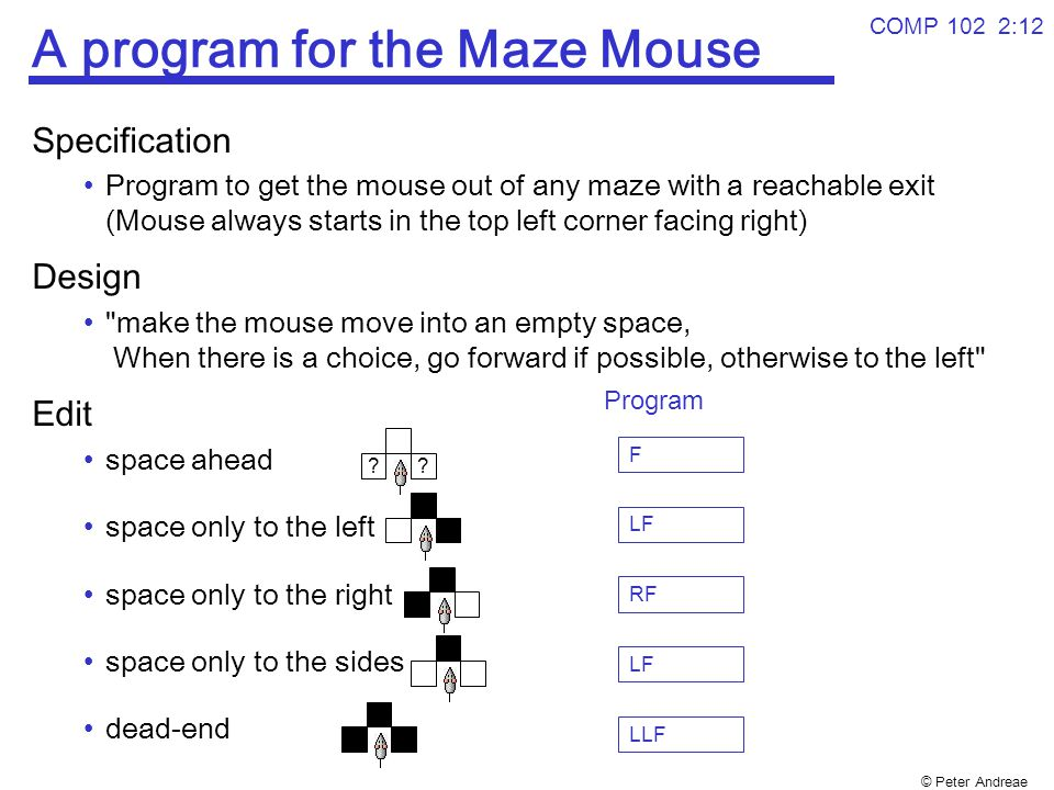 © Peter Andreae COMP 102 2:12 A program for the Maze Mouse Specification Program to get the mouse out of any maze with a reachable exit (Mouse always starts in the top left corner facing right) Design make the mouse move into an empty space, When there is a choice, go forward if possible, otherwise to the left Edit space ahead space only to the left space only to the right space only to the sides dead-end ?.