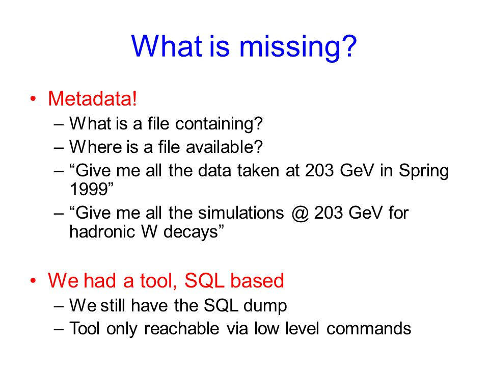 What is missing. Metadata. –What is a file containing.