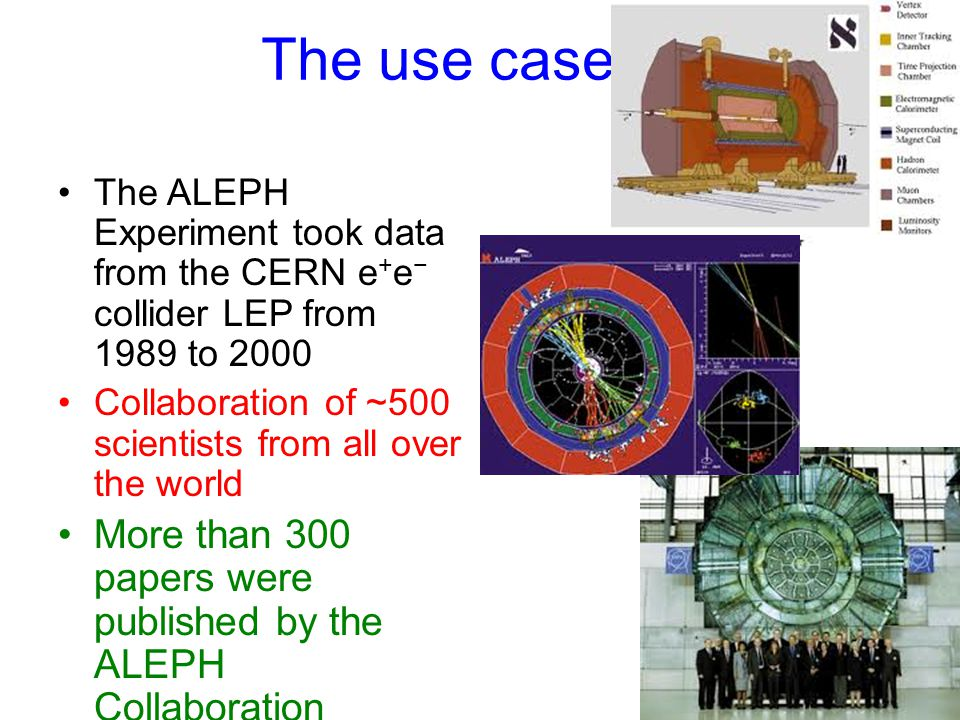 The use case The ALEPH Experiment took data from the CERN e + e − collider LEP from 1989 to 2000 Collaboration of ~500 scientists from all over the world More than 300 papers were published by the ALEPH Collaboration