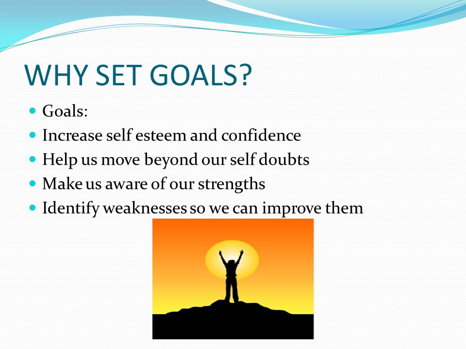 WHY SET GOALS? Goals: Increase self esteem and confidence Help us move beyond our self doubts Make us aware of our strengths Identify weaknesses so we