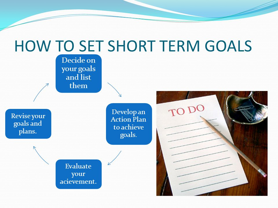 HOW TO SET SHORT TERM GOALS Decide on your goals and list them Develop an Action Plan to achieve goals. Evaluate your acievement. Revise your goals an