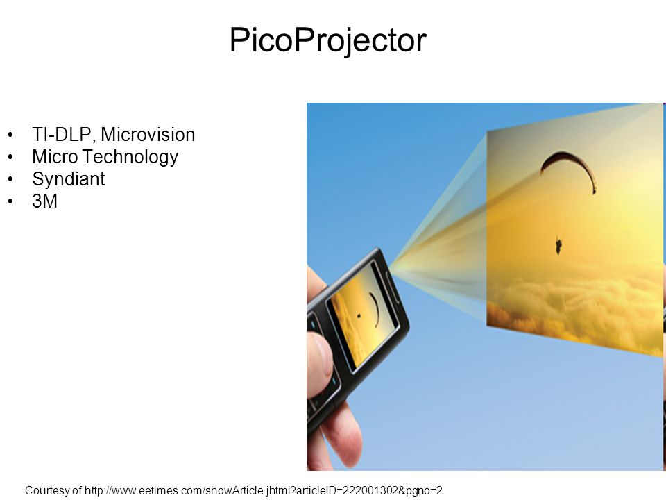 PicoProjector TI-DLP, Microvision Micro Technology Syndiant 3M Courtesy of http://www.eetimes.com/showArticle.jhtml?articleID=222001302&pgno=2