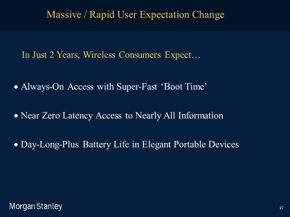 Massive / Rapid User Expectation Change 17  Always-On Access with Super-Fast 'Boot Time'  Near Zero Latency Access to Nearly All Information  Da