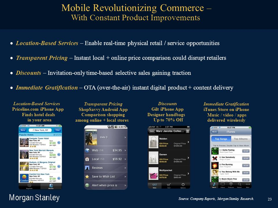 23  Location-Based Services – Enable real-time physical retail / service opportunities  Transparent Pricing – Instant local + online price compa