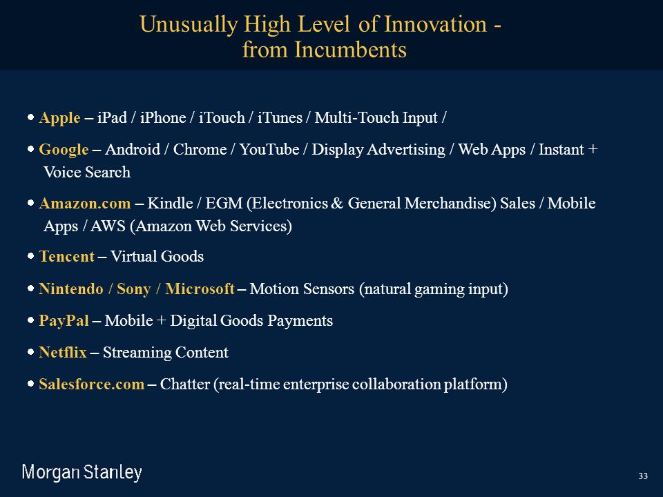 Unusually High Level of Innovation - from Incumbents  Apple – iPad / iPhone / iTouch / iTunes / Multi-Touch Input /  Google – Android / Chrome / Y