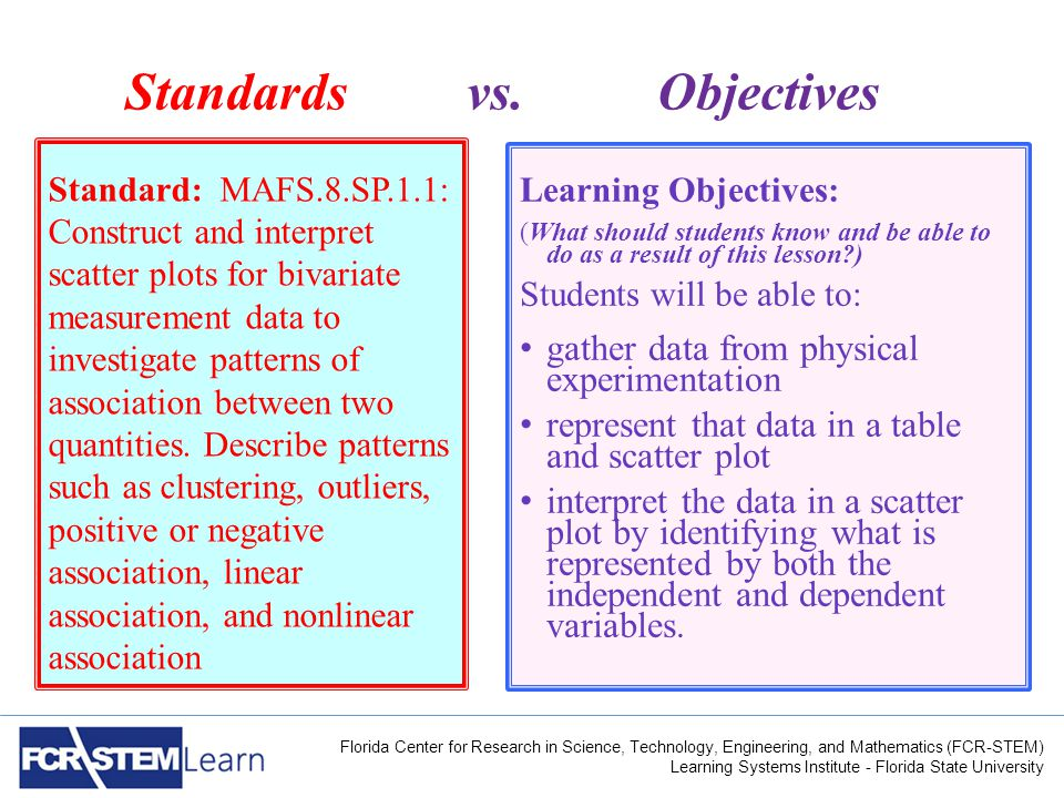 Florida Center for Research in Science, Technology, Engineering, and Mathematics (FCR-STEM) Learning Systems Institute - Florida State University Standards vs.