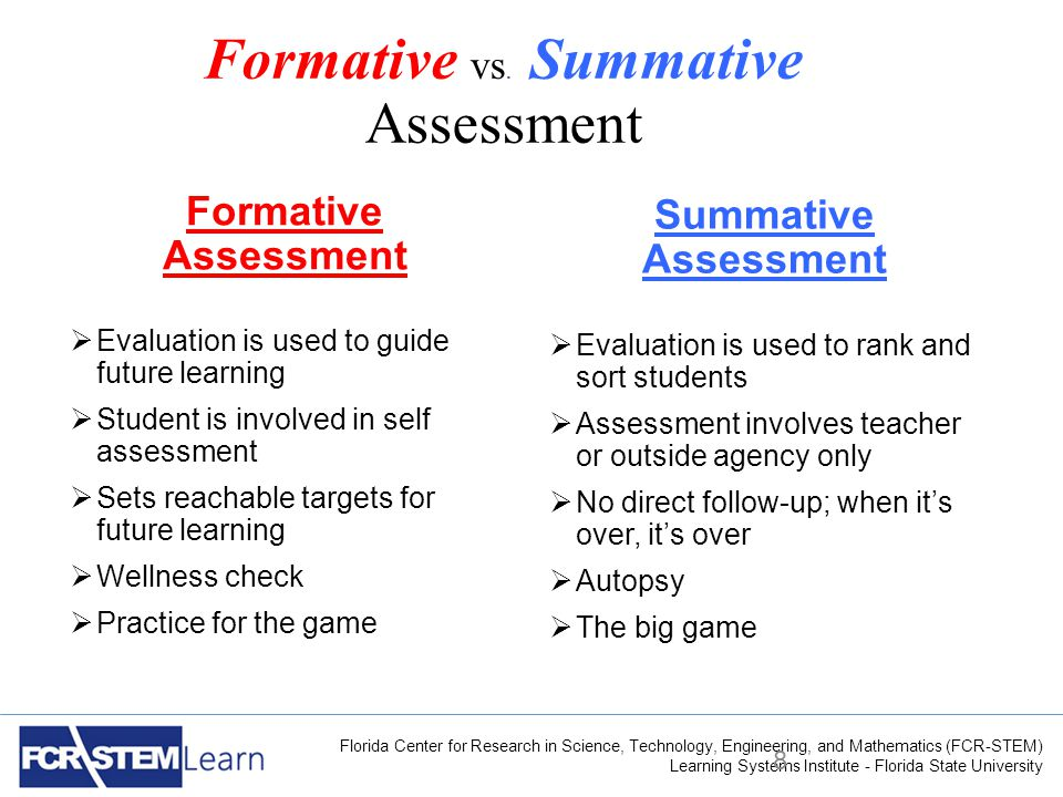 Florida Center for Research in Science, Technology, Engineering, and Mathematics (FCR-STEM) Learning Systems Institute - Florida State University Formative vs.