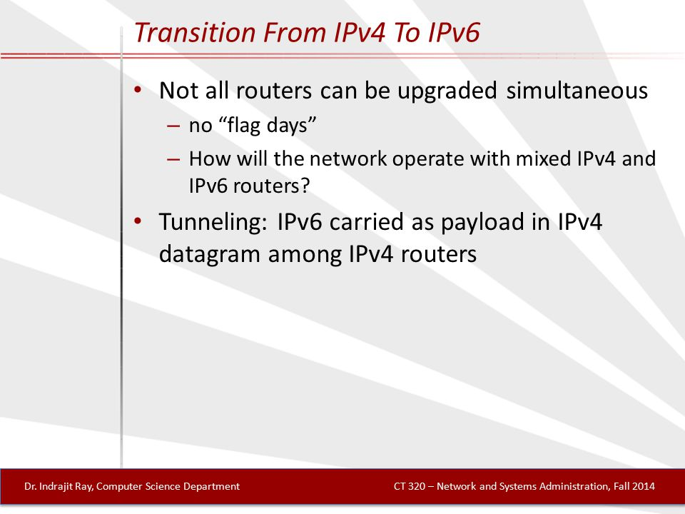 Transition From IPv4 To IPv6 Not all routers can be upgraded simultaneous – no flag days – How will the network operate with mixed IPv4 and IPv6 routers.