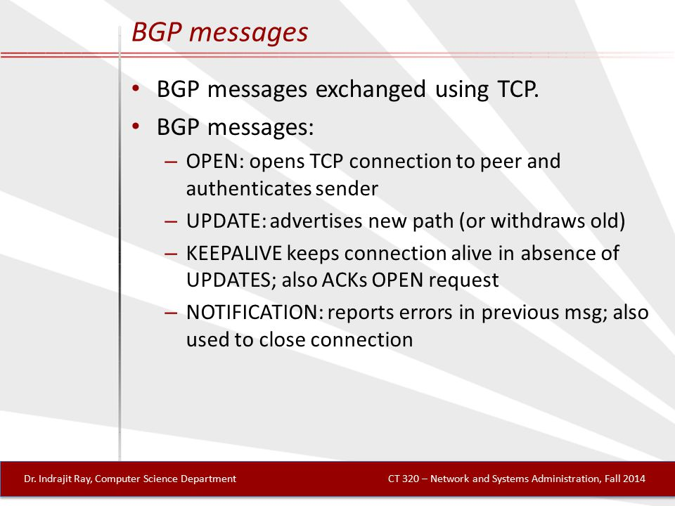 BGP messages BGP messages exchanged using TCP.
