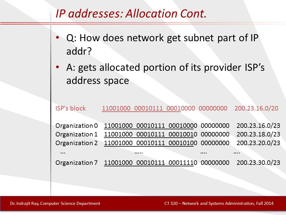 IP addresses: Allocation Cont. Q: How does network get subnet part of IP addr.