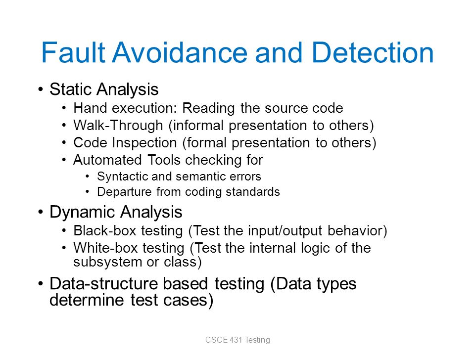 Outline Introduction How to deal with faults, erroneous states, and failures Different kinds of testing Testing strategies Test automation Unit testing Mocks etc.