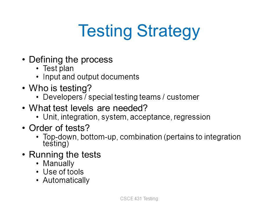 Testing Strategy Defining the process Test plan Input and output documents Who is testing? Developers / special testing teams / customer What test lev