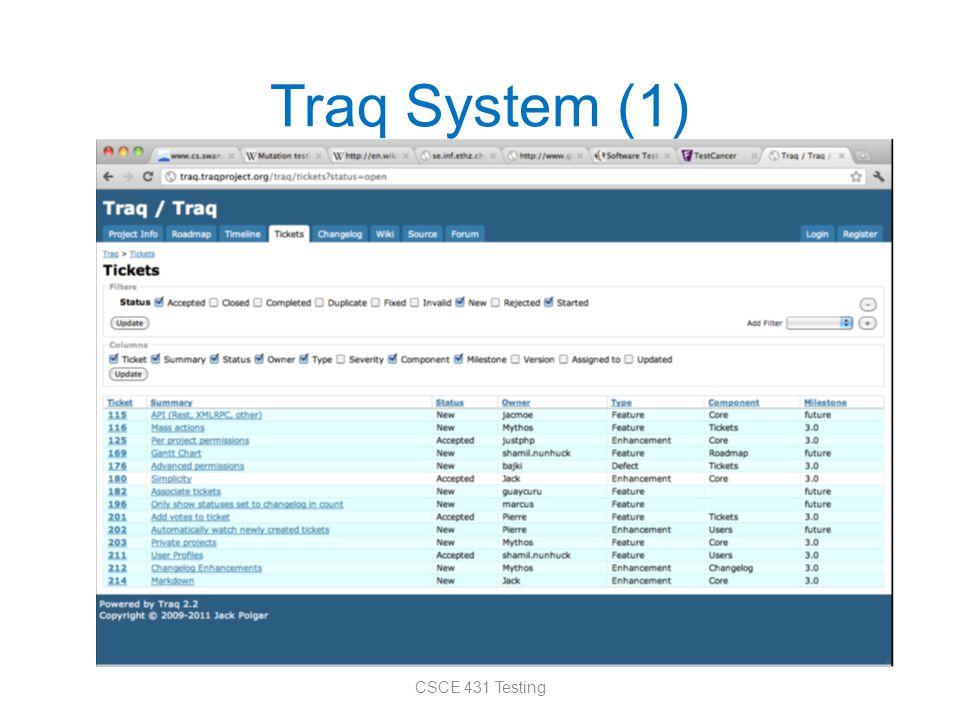 Traq System (1) CSCE 431 Testing