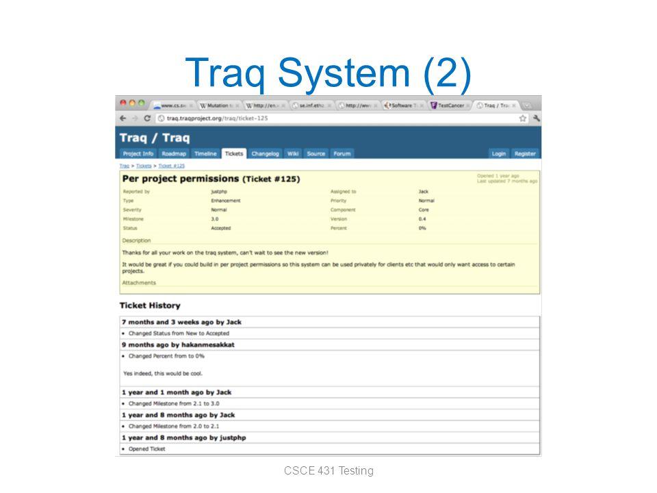 Traq System (2) CSCE 431 Testing