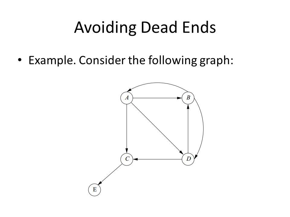 Avoiding Dead Ends Example. Consider the following graph: