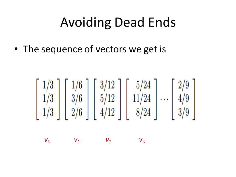 Avoiding Dead Ends The sequence of vectors we get is v0v0 v1v1 v2v2 v3v3