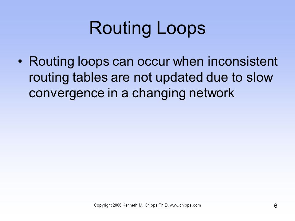 Routing Loops Routing loops can occur when inconsistent routing tables are not updated due to slow convergence in a changing network Copyright 2008 Kenneth M.