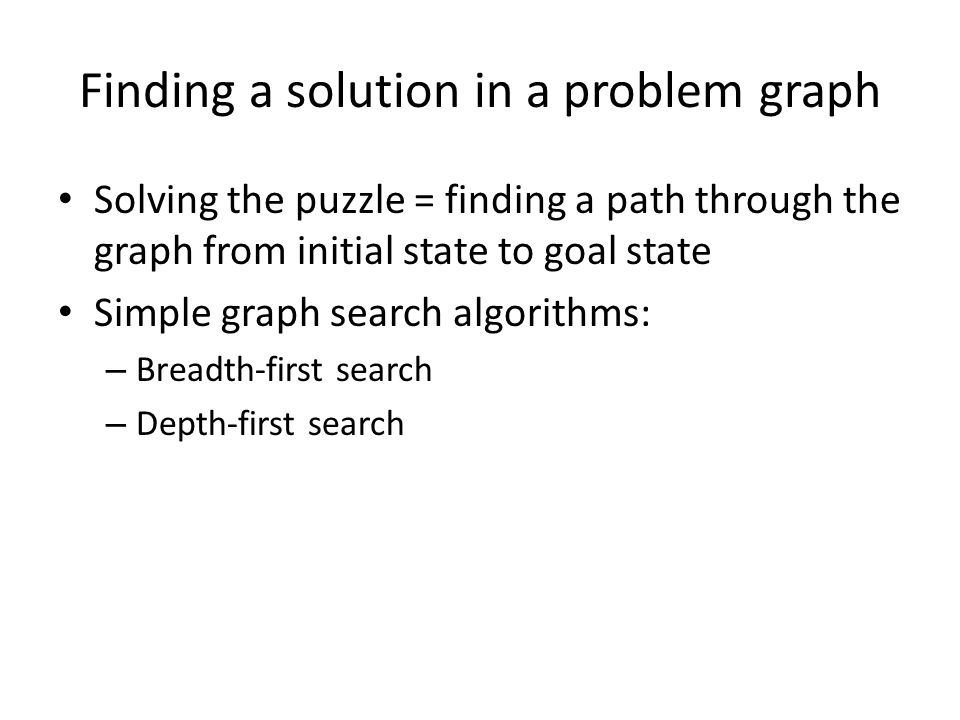 Finding a solution in a problem graph Solving the puzzle = finding a path through the graph from initial state to goal state Simple graph search algor