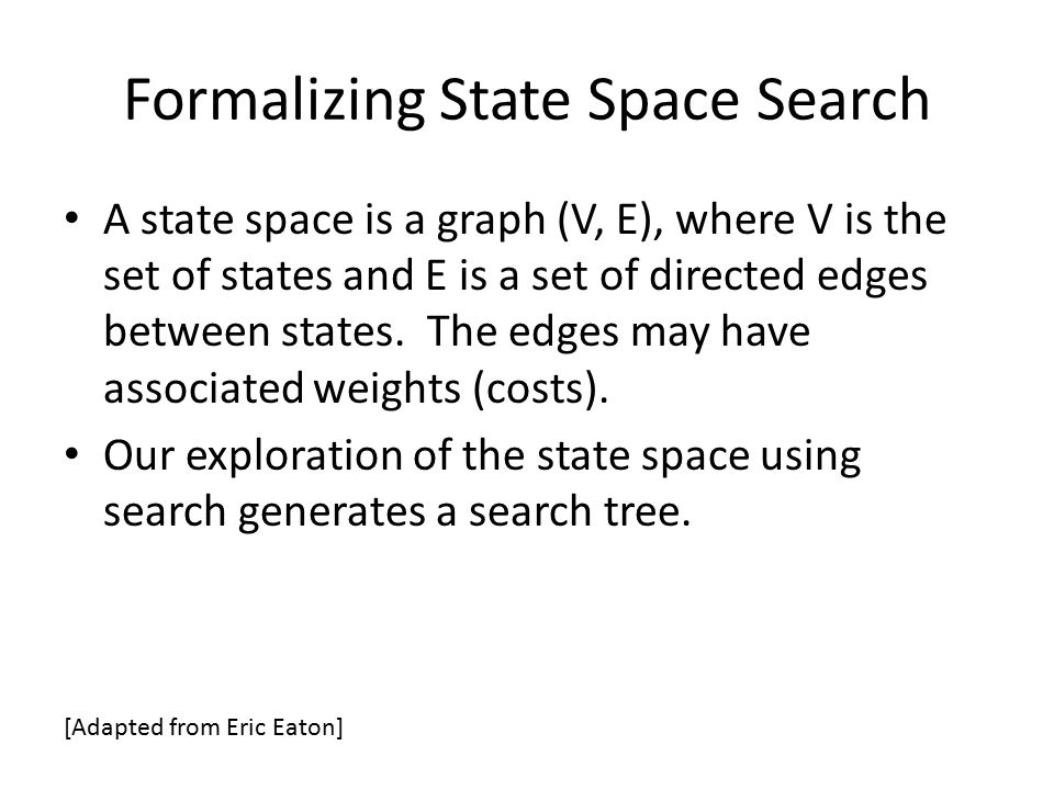 Formalizing State Space Search A state space is a graph (V, E), where V is the set of states and E is a set of directed edges between states. The edge