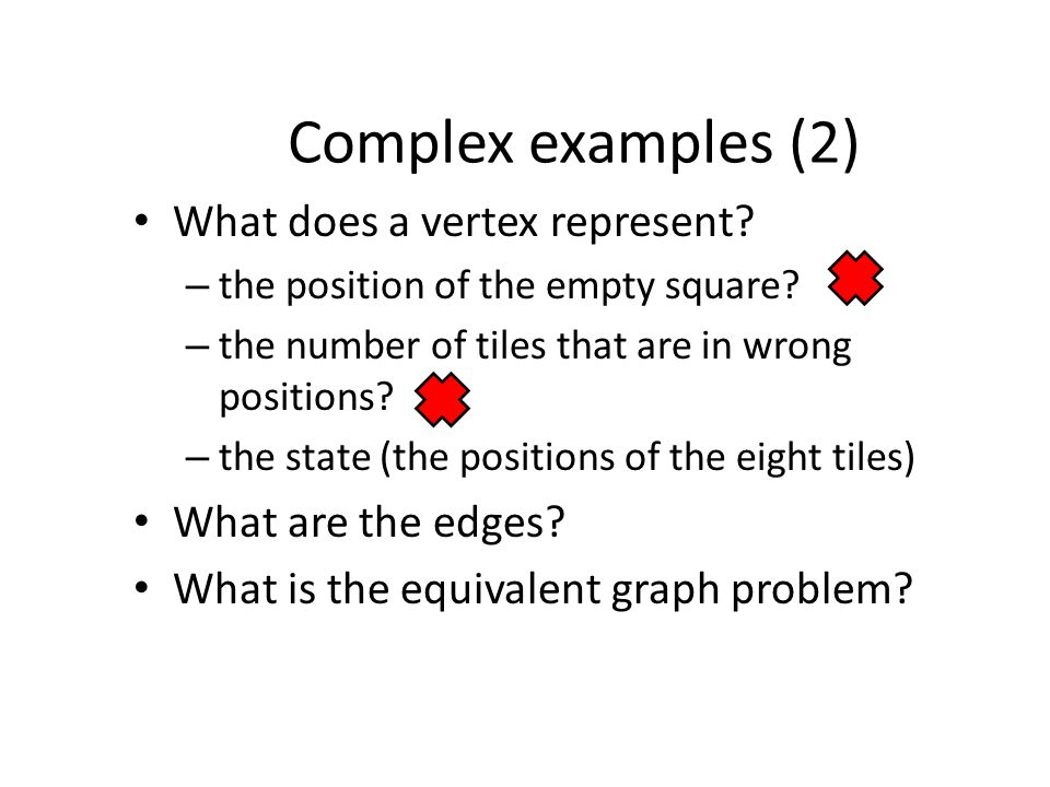 Complex examples (2) What does a vertex represent.