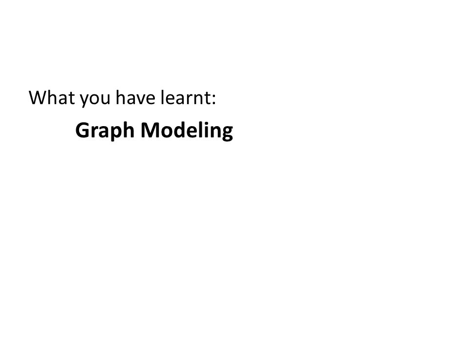 What you have learnt: Graph Modeling