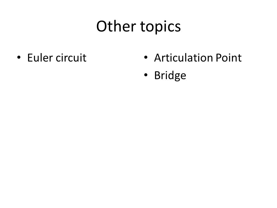 Other topics Euler circuit Articulation Point Bridge
