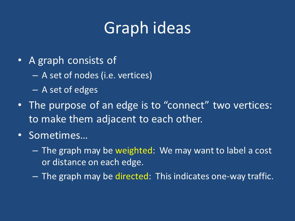 Graph ideas A graph consists of – A set of nodes (i.e.