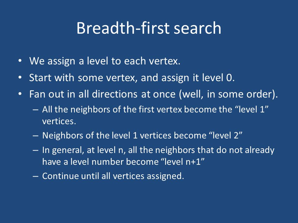 Breadth-first search We assign a level to each vertex.