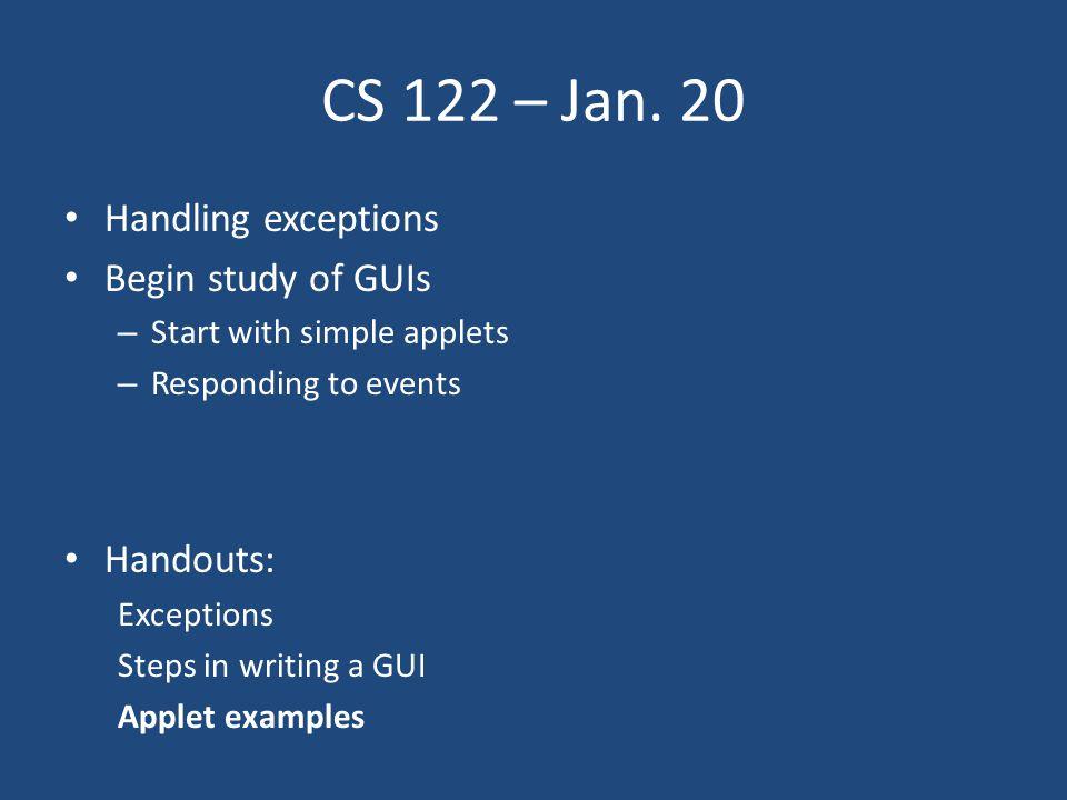 CS 122 – Jan.