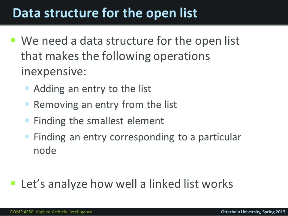 COMP 4230: Applied Artificial IntelligenceOtterbein University, Spring 2013 Data structure for the open list  We need a data structure for the open list that makes the following operations inexpensive:  Adding an entry to the list  Removing an entry from the list  Finding the smallest element  Finding an entry corresponding to a particular node  Let's analyze how well a linked list works