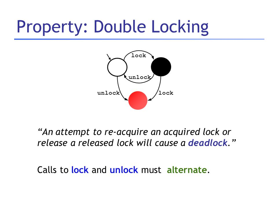 "Property: Double Locking ""An attempt to re-acquire an acquired lock or release a released lock will cause a deadlock."" Calls to lock and unlock must a"