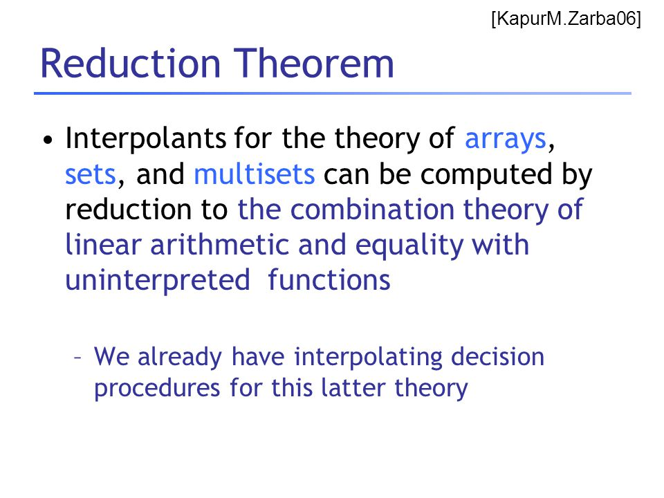 Reduction Theorem Interpolants for the theory of arrays, sets, and multisets can be computed by reduction to the combination theory of linear arithmet