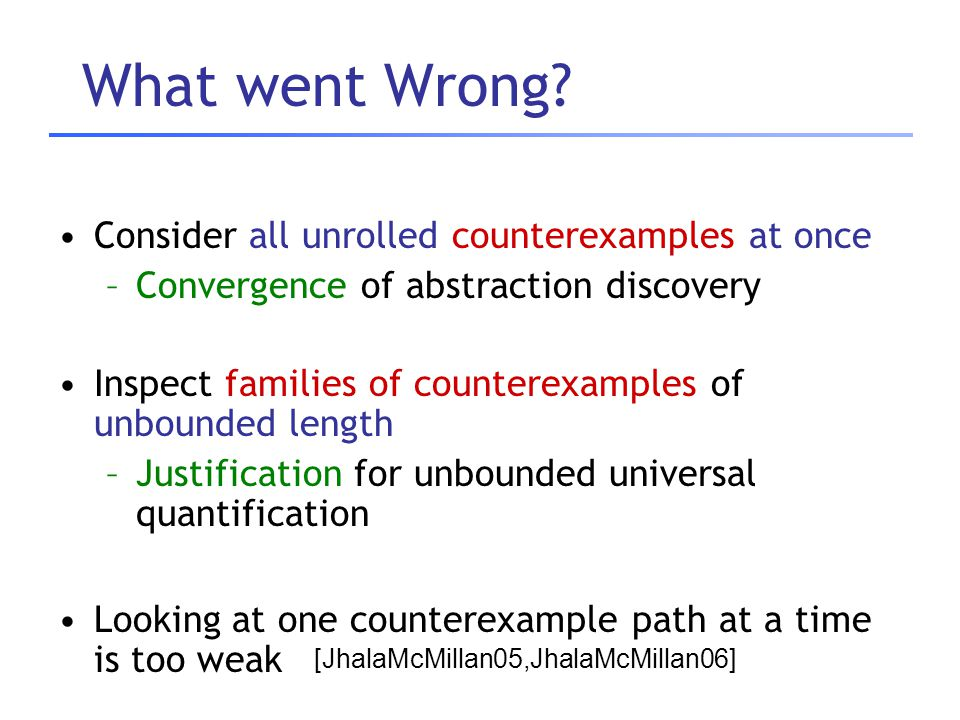 What went Wrong? Consider all unrolled counterexamples at once –Convergence of abstraction discovery Inspect families of counterexamples of unbounded