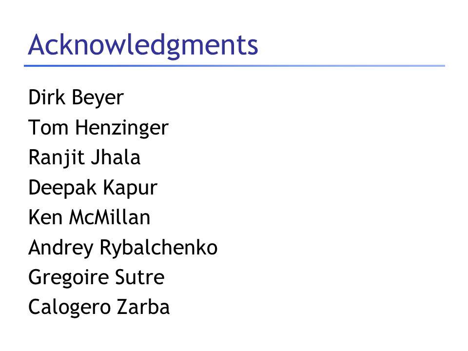 Acknowledgments Dirk Beyer Tom Henzinger Ranjit Jhala Deepak Kapur Ken McMillan Andrey Rybalchenko Gregoire Sutre Calogero Zarba