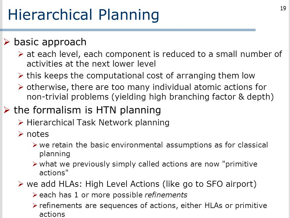 Hierarchical Planning  basic approach  at each level, each component is reduced to a small number of activities at the next lower level  this keeps