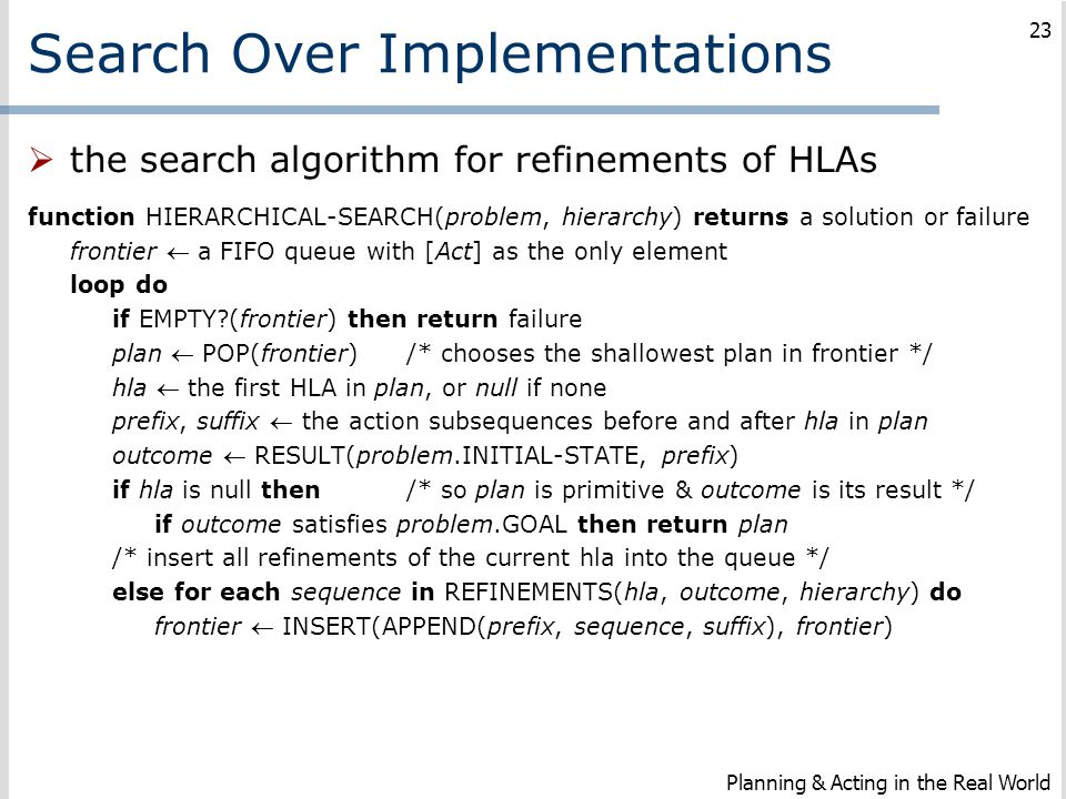 Search Over Implementations  the search algorithm for refinements of HLAs function HIERARCHICAL-SEARCH(problem, hierarchy) returns a solution or fail