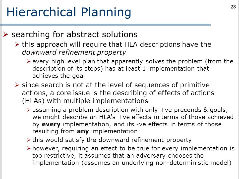 Hierarchical Planning  searching for abstract solutions  this approach will require that HLA descriptions have the downward refinement property  ev