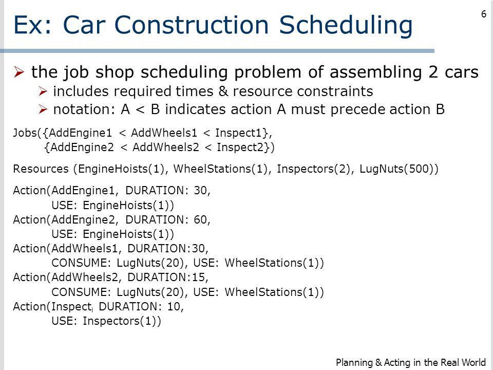 Ex: Car Construction Scheduling  the job shop scheduling problem of assembling 2 cars  includes required times & resource constraints  notation: A