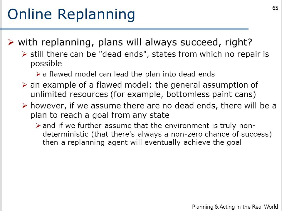 Online Replanning  with replanning, plans will always succeed, right?  still there can be