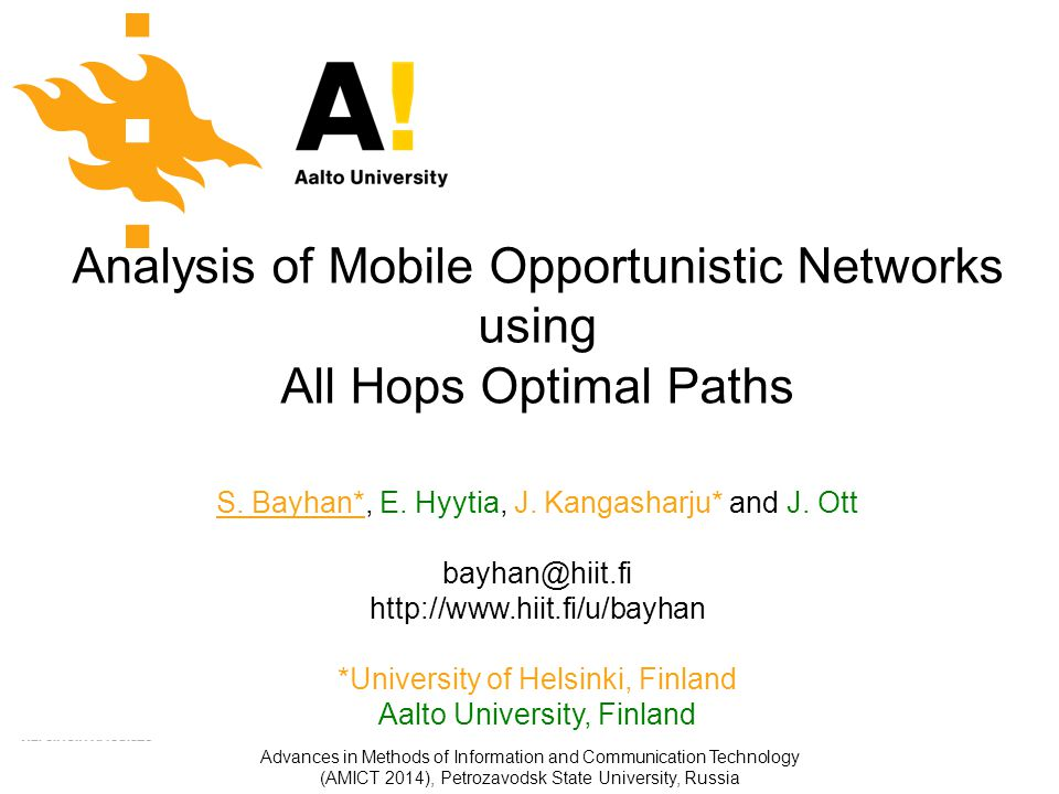 22/ 28 Advances in Methods of Information and Communication Technology (AMICT 2014), Petrozavodsk State University, Russia Static analysis: hop limit vs.