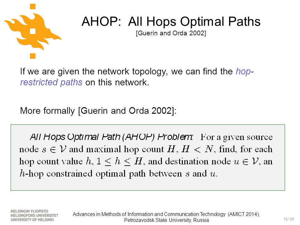 12/ 28 Advances in Methods of Information and Communication Technology (AMICT 2014), Petrozavodsk State University, Russia AHOP: All Hops Optimal Path