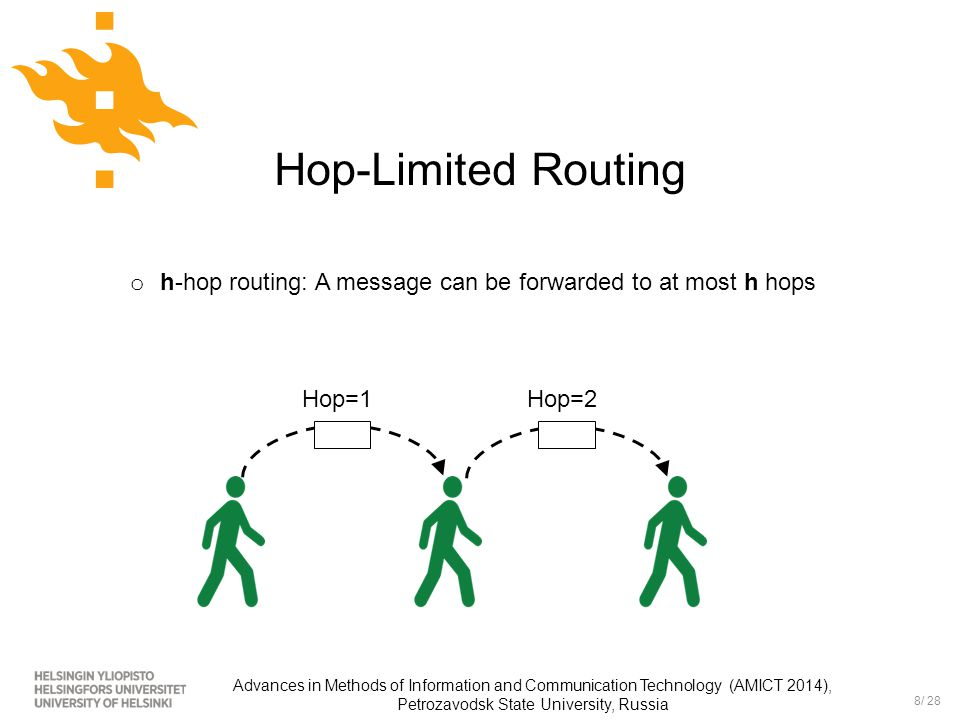 8/ 28 Advances in Methods of Information and Communication Technology (AMICT 2014), Petrozavodsk State University, Russia Hop-Limited Routing Hop=1Hop=2 o h-hop routing: A message can be forwarded to at most h hops
