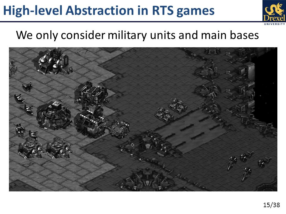 15/38 High-level Abstraction in RTS games We only consider military units and main bases