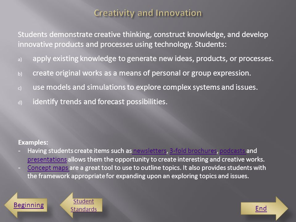 Students demonstrate creative thinking, construct knowledge, and develop innovative products and processes using technology.