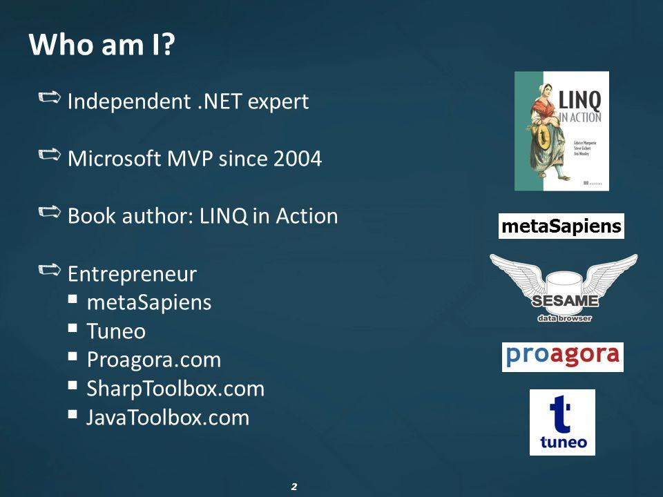 33 Tools Tools dedicated to profiling in.NET dotTrace,.NET Memory Profiler, ANTS Profiler, YourKit Profiler, PurifyPlus, Aqtime, CLR Profiler… http://sharptoolbox.com/categories/profilers-debuggers http://sharptoolbox.com/categories/profilers-debuggers WinDbg, SOS.dll, linqdbg http://www.microsoft.com/whdc/devtools/debugging/ http://code.google.com/p/linqdbg/ http://www.microsoft.com/whdc/devtools/debugging/ http://code.google.com/p/linqdbg/ VMMap http://sysinternals.com http://sysinternals.com Bear, GDI Usage http://thesz.diecru.eu/content/bear.php http://msdn.microsoft.com/en-us/magazine/cc301756.aspx http://thesz.diecru.eu/content/bear.php http://msdn.microsoft.com/en-us/magazine/cc301756.aspx