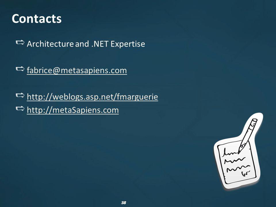 38 Contacts Architecture and.NET Expertise fabrice@metasapiens.com http://weblogs.asp.net/fmarguerie http://metaSapiens.com