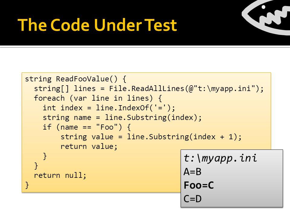 Exercise Crash Test [PexMethod] void Crash(string[] lines) { MFile.ReadAllLines = () => lines; Reader.ReadFooValue(); } [PexMethod] void Crash(string[] lines) { MFile.ReadAllLines = () => lines; Reader.ReadFooValue(); }  Execute the code without assertions