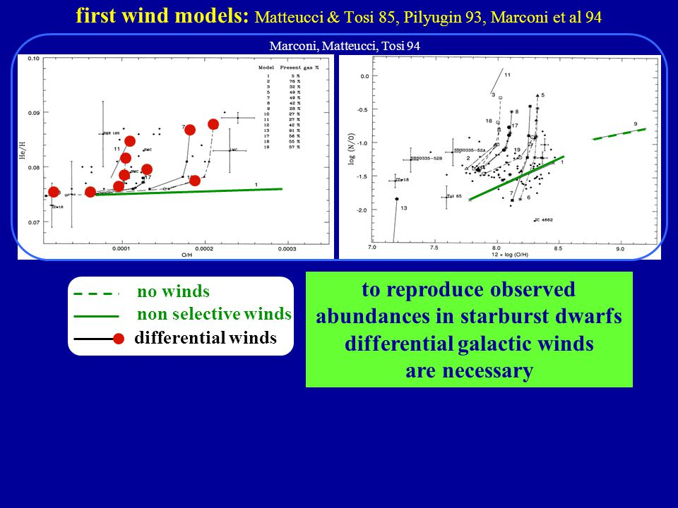 first wind models: Matteucci & Tosi 85, Pilyugin 93, Marconi et al 94 to reproduce observed abundances in starburst dwarfs differential galactic winds are necessary no winds non selective winds Marconi, Matteucci, Tosi 94 differential winds