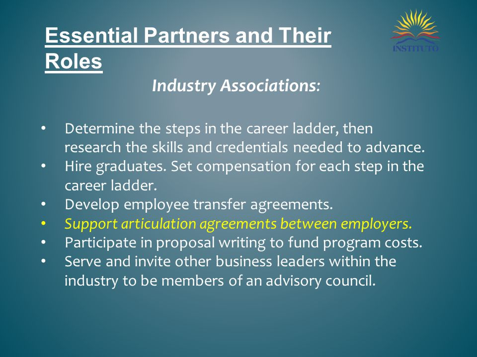 Essential Partners and Their Roles Industry Associations: Determine the steps in the career ladder, then research the skills and credentials needed to advance.