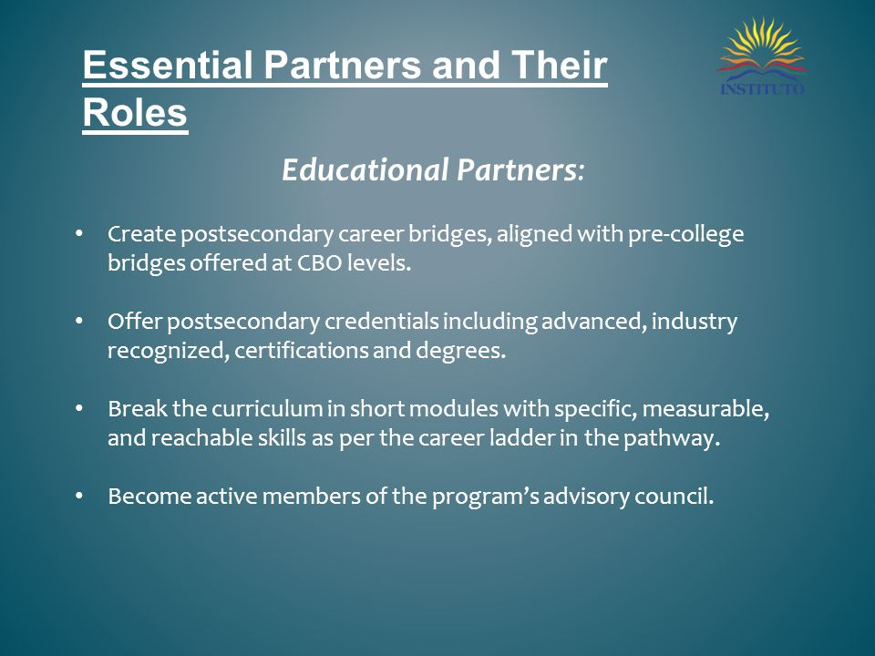 Essential Partners and Their Roles Educational Partners: Create postsecondary career bridges, aligned with pre-college bridges offered at CBO levels.